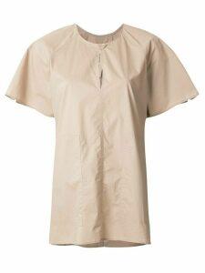 Lee Mathews key-hole neckline boxy T-shirt - Brown