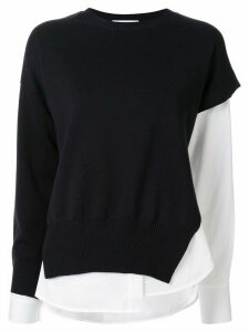Enföld long sleeve contrast sleeve jumper - Black