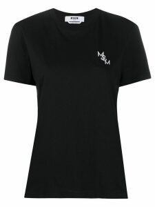 MSGM logo embroidered T-shirt - Black