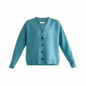 PAISIE - Paisie Ribbed Cardigan In Teal