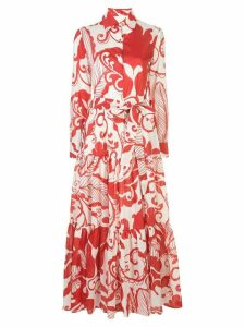 La Doublej foliage-print flared shirt dress