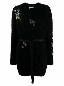 RedValentino knitted flower motifs cardigan - Black