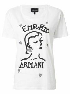 Emporio Armani face print boxy T-shirt - White