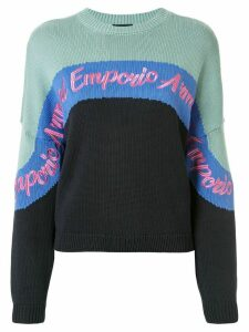 Emporio Armani colour block knit logo embroidered jumper - Blue