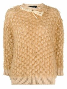 Simone Rocha frayed pearl embellished jumper - NEUTRALS