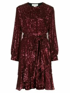 Sachin & Babi sequin asymmetric belted dress - Red