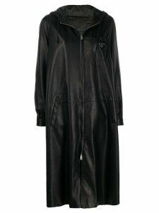 Prada leather hooded zipped coat - Black