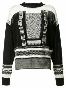 Mame Kurogouchi contrasting knitted jumper - Black