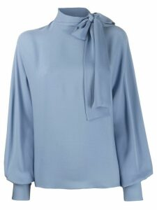 Valentino pussy bow neckline draped blouse - Blue