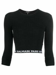 Balmain logo tape cropped top - Black