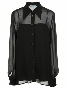 Prada sheer long-sleeved shirt - Black