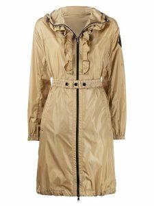 Moncler ruffle-placket hooded jacket - NEUTRALS