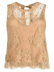 LIU JO lace embroidered top - Brown