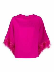 P.A.R.O.S.H. feather trimmed cropped sleeve top - PINK