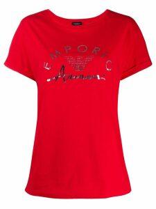 Emporio Armani logo-print crew neck T-shirt - Red