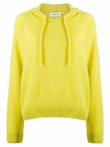LANVIN fine knit cropped hoodie - Yellow