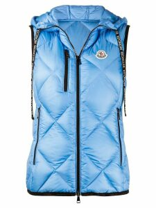 Moncler logo-patch quilted hooded gilet - Blue