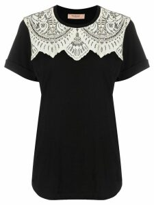 Twin-Set lace-embellished cotton T-shirt - Black