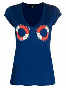 Elisabetta Franchi life jacket-print T-shirt - Blue