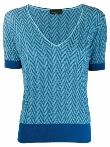 Roberto Collina chevron knitted shortsleeved top - Blue