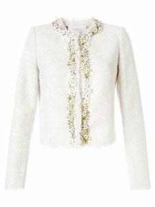 Giambattista Valli floral embellished tweed jacket - White