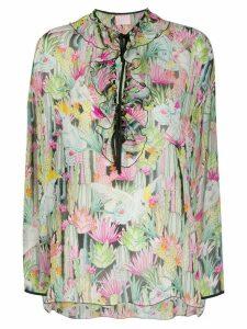 Giamba floral-print ruffled blouse - White