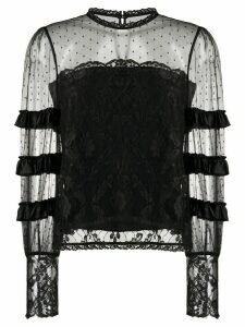 Temperley London tiered lace blouse - Black