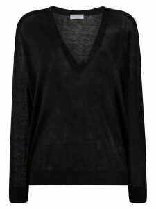Brunello Cucinelli metallic fine-knit sheer jumper - Black