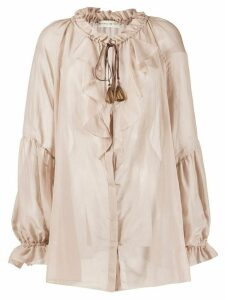 Etro ruffle trimmed sheer blouse - NEUTRALS
