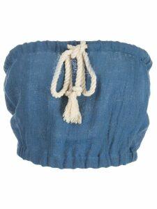 Lisa Marie Fernandez Victor gauze cropped blouse - Blue