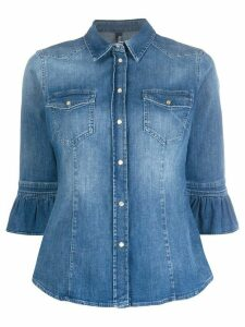 LIU JO ruffled-cuff denim shirt - Blue