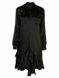 Julien David long-line ruffle trimmed shirt - Black