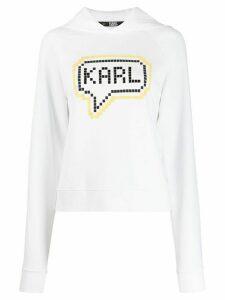Karl Lagerfeld Karl pixel logo hoodie - White