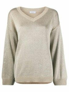 Brunello Cucinelli metallic knit jumper - NEUTRALS