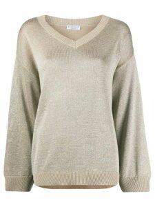 Brunello Cucinelli metallic knit jumper - NEUTRALS