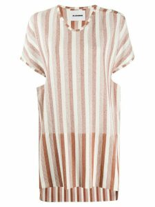 Jil Sander structured striped-print T-shirt - White