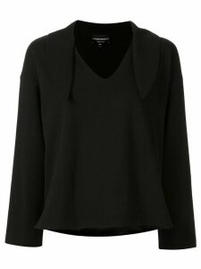Emporio Armani tied neck jumper - Black