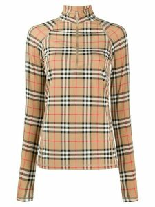 Burberry House Check high collar T-shirt - Brown