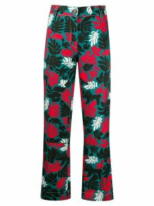 Marni leaf print front pleated trousers - Blue