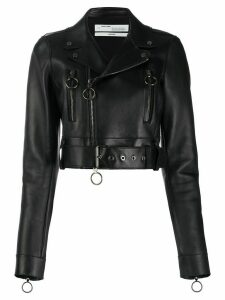 Off-White Arrows cropped biker jacket - Black