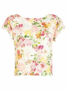 LIU JO floral-print silk top0 - NEUTRALS