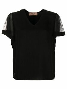 Twin-Set sheer-sleeves V-neck blouse - Black