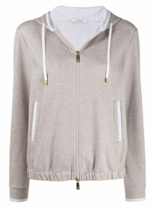 Peserico marl zip through cotton blend hoodie - NEUTRALS