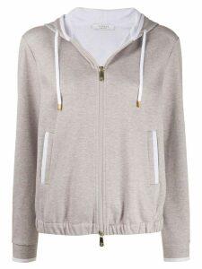Peserico marl zip through cotton blend hoodie - NEUTRALS