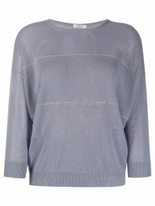 Peserico sheer embellished stripe linen blend knitted top - Blue