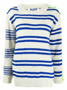 SJYP button-sleeve striped pullover jumper - Grey