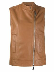 Peserico mock neck leather gilet - Brown