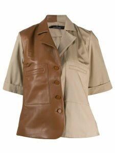 Rokh contrasting panel shirt - Brown
