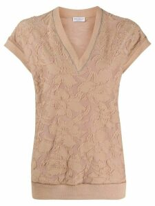 Brunello Cucinelli textured floral top - Brown