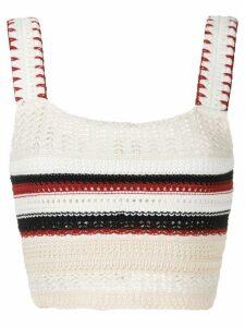 Framed Santorini crochet cropped top - White